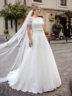 Plus size wedding dress Shannon, A-line plus size wedding dress, Plus size cathedral bridal gown, Pl Plus Size Wedding Dresses With Sleeves, Buy Wedding Dress, Plus Size Wedding Gowns, Fall Wedding Dresses, One Shoulder Wedding Dress, Plus Size Brides, Full Figure Wedding Dress, Elegant Wedding Dress, Updos