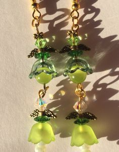HC Dark and Light Green Flowers Crystals by SouthernWomenCrafts