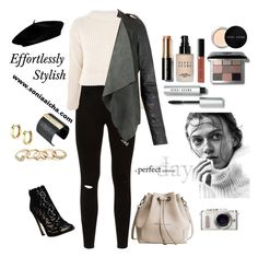"""""""Effortlessly Stylish"""" by soniaaicha ❤ liked on Polyvore featuring Sophia Kah, Topshop, GUESS, The Sak, Bobbi Brown Cosmetics and PL8"""