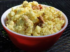 SHORTCUT POTATO SALAD: 32 oz pkg frozen Southern style hash browns (the little cubed ones), 3 eggs hard-boiled and chopped, 5 strips bacon cooked crispy and crumpled, 1 Cup shredded cheddar cheese, ½ cup mayo, 2 tbsp yellow mustard, ⅓ cup dill relish, Salt and Pepper to taste. | Southern Plate