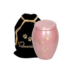 Paws to Heaven Flat Top Pink Pet Urn - Paw Print Urn with Gold Paws - Pet Cremation Urn with Free Paw Print Bag *** Details can be found by clicking on the image. (This is an affiliate link and I receive a commission for the sales)