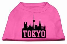 Mirage Pet Products Puppy Safety Dress Apparel Clothing Accessory Tokyo Skyline Screen Print Shirt Bright Pink Large (14)
