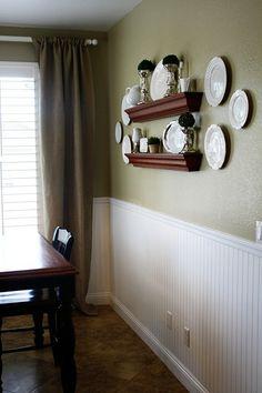 kitchen wall idea! wall plates and I like the wainscotting..