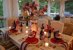 4th of July porch in candelight.