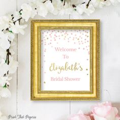Bridal Shower Welcome Sign  Pink and Gold by PrintThatPaperie