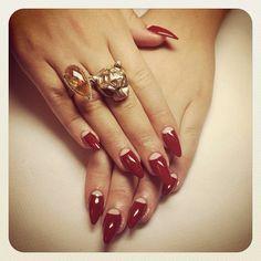 red half moon nails