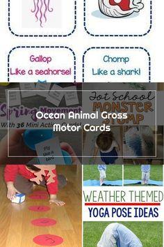 Ocean Animal Gross Motor Cards Gross Motor Activities, Yoga Poses, Shark, Ocean, Cards, Animals, Animales, Animaux, Sharks