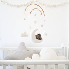 Sleeping Elephant With Stars And Clouds Baby Mobile - Are you interested in our elephant moon baby mobile? With our unisex gift for newborn you need look - Clouds Nursery, Safari Nursery, Nursery Decor, Cool Baby, Little Elephant, Baby Elephant, Elephant Mobile, Felt Sheets, Star Cloud