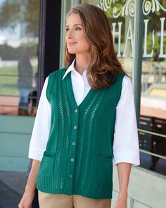 National Classic Sweater Vest, Plus Pointelle detail Machine wash & dry Women's: & & Women's Imported Sweaters And Leggings, Sweater Cardigan, Women's Sweaters, Boutique Clothing, Lounge Wear, Casual Wear, Clothes For Women, How To Wear, Diana
