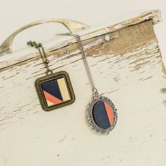 Blue and peach geometric wood handpainted necklace Wood and