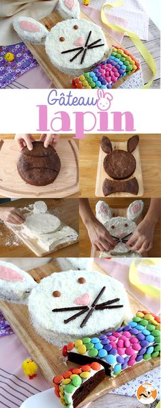 Turn some regular brownies into a cute rabbit for Easter, or any other occasion. - Recipe Dessert : Bunny cake by PetitChef_Official White Chocolate Ganache, Chocolate Cake, Easter Recipes, Dessert Recipes, Rabbit Cake, Pink Food Coloring, Cake Shapes, Brownie Batter, Cake Decorating Tips