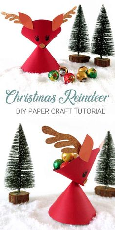 How to make paper Christmas Reindeer decorations that double as a holiday treat holder! A complete DIY craft tutorial. Christmas Paper, Christmas Crafts For Kids, Christmas Ideas, Christmas Holiday, Holiday Ideas, Winter Holiday, Holiday Crafts, Reindeer Decorations, Christmas Decorations