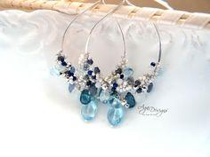 Hoop earrings in blue - via @Craftsy