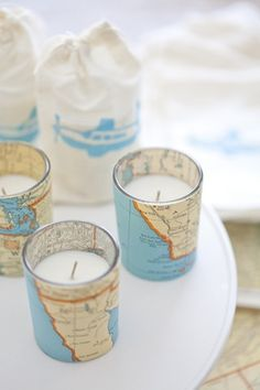 DIY Vintage Map Votive Candles >>> might be cute decor or a favor for a LDR themed wedding Retirement Parties, Grad Parties, Map Crafts, Going Away Parties, Do It Yourself Inspiration, Travel Party, Thinking Day, Old Maps, Travel Themes
