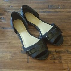 SALE ALDO Blk Leather D'Orsay Peep Toe Flats Worn once, like new. Leather upper with patent leather detailing. ALDO Shoes Flats & Loafers