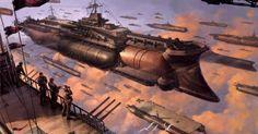 Steampunk Last exile Battleship Sci fi