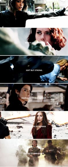 She's a badass with a good heart. Soft but strong. Unapologetic and honest. She's the type of woman, you go to war beside. #marvel