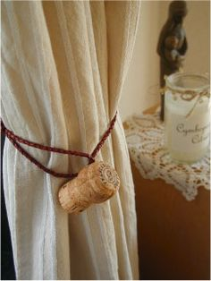 For all your wine lovers out there...Wine cork curtain tassel.