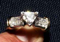 Trillion Diamonds For Sale | Ladies E-colorless, brilliant trillion cut diamond ring, 1.5 tcw - $ ...