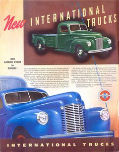You will enjoy this site! International Pickup Truck, International Harvester Truck, New Trucks, Pickup Trucks, Station Wagon, Vintage Advertisements, Vintage Ads, Engin, Classic Chevy Trucks