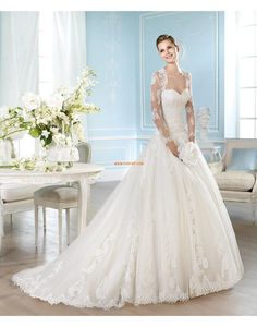 Hochzeitskleider mit Schal T-Shirtärmel Natürlich Brautkleider 2014