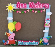 Marco de fotos Peppa Pig 2 Peppa Pig Y George, Pig Party, Ideas Para Fiestas, Balloons, Birthday Parties, Selfie, Birthday Photos, Bebe, Anniversary Parties