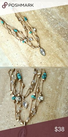 """Boho multi strand howlite necklace Detailed 6 strand 24"""" overall length with a 3 1/2"""" extender. Gorgeous turquoise and white howlite with gold and white accents. Discounts given on bundles. Salty Grace  Jewelry Necklaces"""