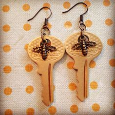 Vintage gold Key Earrings with honey bee charms by KeyBoogie, $16.00