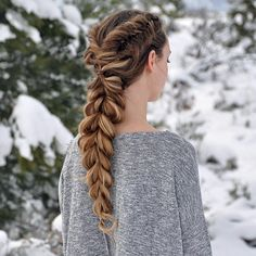 Dutch Fishtails into a Pull-Through Braid on myself today ❄️