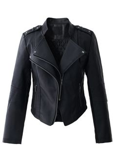 Completed with faux leather and panels of gathering, this unique jacket is sure to be your chic style in your wardrobe. Pair with a casual midi dress and ankle boots, you and your effortless style are impossible to miss! - Asymmetric zip through front, - Cropped length, quilted lining- Slanted zip fake pockets, epaulettes on shoulders- Outer: 100% Polyurethane; Lining: 100% Polyester- Dry clean Size(cm) Length Bust Shoulder Sleeves XS 52 80 37…