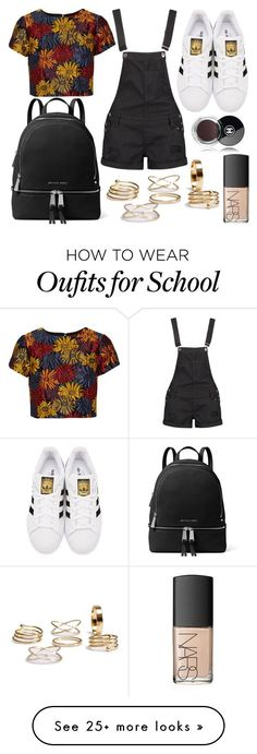 """""""School Day"""" by susanna-trad on Polyvore featuring Boohoo, Alice + Olivia, adidas Originals, MICHAEL Michael Kors, NARS Cosmetics and Chanel"""