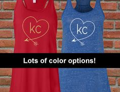 Adorable flowy racerback tank to support your #KCChiefs, #KCRoyals, Sporting KC or just show your KC pride! Available in 5 tank colors and your choice of over 20 design colors including glitter or solid colors!