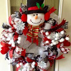 "Large, adorable Christmas ""Snowman"" deco mesh wreath"