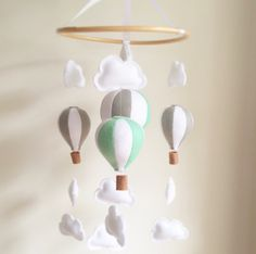 CUSTOM colour color Hot Air Balloon Mobile Cot Mobile by WhoIsQ