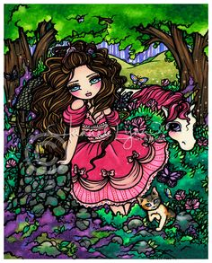 Princess Unicorn 8x10 Art Print Fantasy Hannah Lynn