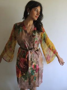 Robe with floral chiffon sleeves made from D11 Fabric Pattern