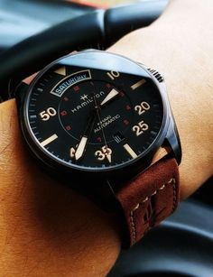 [Hamilton] My New Khaki Pilot Day Date Auto : Watches - You are in the right place about Vintage Jewelry bracelet Here we offer you the most beautiful pictures about Stylish Watches, Casual Watches, Men's Watches, Cool Watches, Fashion Watches, Men Fashion, Vintage Watches For Men, Luxury Watches For Men, Gentleman Watch