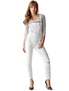 5f9d99223956 GUESS Women s Carlie Slim-Fit Overalls in True White Destroy Wash GUESS  http