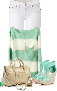 """Mint Spring Outfit"" by thalianbaby67 ❤ liked on Polyvore"