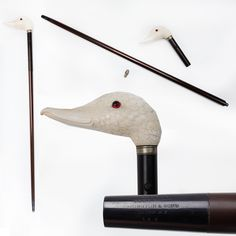 Remington Cane Gun - This Remington cane gun with a finely carved ivory duck head handle was one of the deluxe options offered with this .32 caliber rimfire accoutrement, well-suited for any well-dressed gentleman of the 1870s or 1880s. To prevent dirt or mud from getting up inside the bore, while strolling along the boulevard, a fitted end piece that would be removed before firing was also part of the cane gun ensemble. NRA National Firearms Museum in Fairfax, VA.