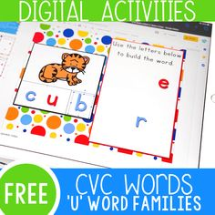 Your students will love these CVC literacy centers! Combine technology with learning while using these CVC word family activities. Word Family Activities, Cvc Word Families, Subtraction Activities, Graphing Activities, Alphabet Activities, Kindergarten Activities, Learning Activities, Kindergarten Reading, Digital Word
