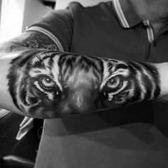 50 Badass Forearm Tattoos For Men - Cool Masculine Design Ideas Tiger Forearm Tattoo, Mens Tiger Tattoo, Tiger Tattoo Design, Tattoo Designs, Side Arm Tattoos, Elbow Tattoos, Sleeve Tattoos, Underarm Tattoo, Persian Tattoo
