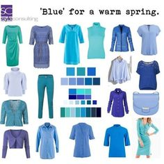 """Blue for a warm spring color type."""" By Margriet Roorda-Faber, Style Consulting. Bright Spring, Warm Spring, Warm Autumn, Spring Looks, Fashion Colours, Colorful Fashion, Spring Summer Fashion, Spring Outfits, Spring Clothes"""