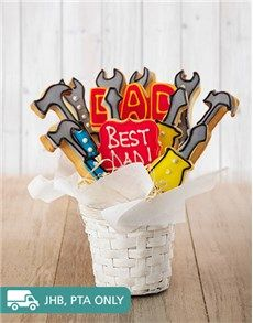 bakery: Tools For Dad Cookie Bouquet! When it comes to being the best dad, your father has nailed it! This edible cookie arrangement is a great Father's Day gift idea for this year. Send the Father's Day food gift nationwide! Best Dad Gifts, Great Father's Day Gifts, Gifts For Dad, Cookie Arrangements, Man Crates, Fathers Day Cake, Order Cake, Cookie Bouquet, Birthday Gift For Him