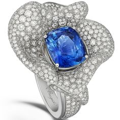 Breguet - White gold and diamond Les Volants de la Reine ring with a cushion-cut sapphire. Photo courtesy press office