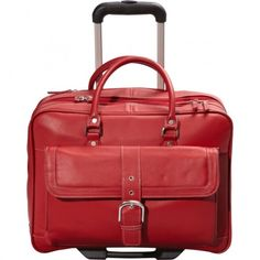 """Chic red Lightweight Laptop Bags for Women.Soho leather mobile office. Holds laptops of up to 17"""". Front compartment will store phone, charger, pens and pencils, passport and notepad. Has a file folder with dividers."""