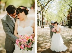 Mint, pink and blue bridal bouquet from Melanie Benson Floral