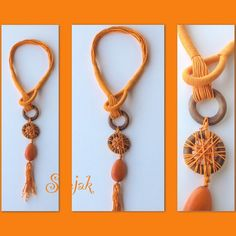 Necklase made of rope and wood
