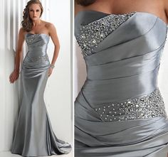 Silver Long Evening/Prom Dress/Party/Formal Gown Wedding Gown Sz 6 8 10 12 14 16 #Handmade #BallGown #Clubwear69.99 ebay freeshipping