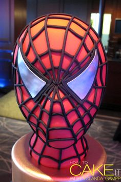 Are your Spidey senses tingling and telling you that this Spiderman mask is actually cake? This was the cake topper I made for a super hero celebration. #Baking #Cakes #Dessert
